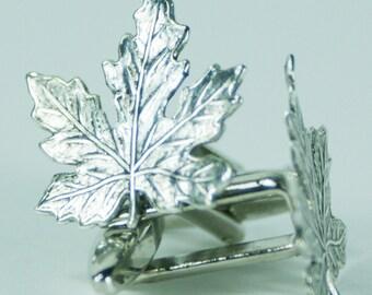 Silver Maple Leaf Cufflinks Free gift bag by Cufflinked Unique Wedding Canada