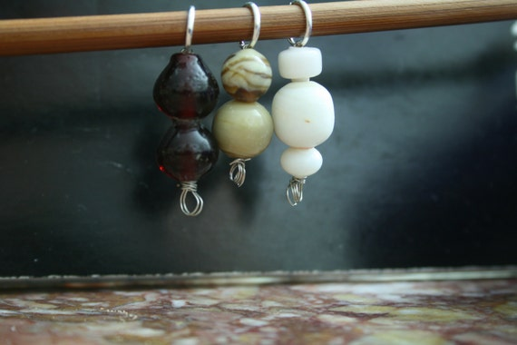 Handmade Stitch Markers in Brown Tones