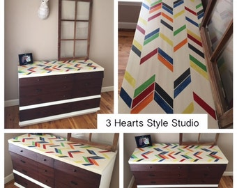 Herringbone Collection- Colorful Herringbone Dresser, Painted Furniture Denver and Colorado Springs, Refinished Furniture, Colorado, Nursery