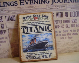 Titanic Miniature Wooden Plaque 1:12 scale