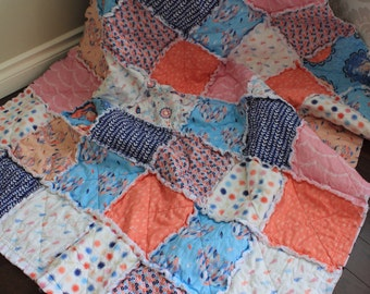 Rag Quilt, Toddler Quilt, Girl Hawthorne Treads, Calliope, Feather Quilt, Ready To Ship