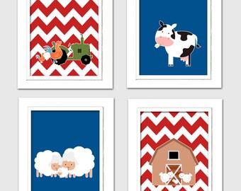 Nursery Quad, Farm Nursery, Navy and Red Nursery, Set of 4 8X10, Choose your colors