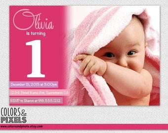 Photo Birthday Invitation, Birthday Printable, DIY Invitation, Digital Invitation, Girl Birthday Invite, Pink and Purple 1st Birthday