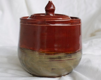Lidded Container in Deep Firebrick and Tiger's Eye (dark red and brown/black)