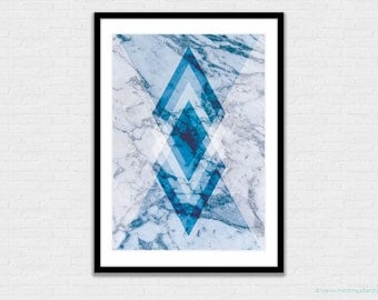 Geometric Marble Print | Geometry | Wall Art | Wall Decor | Blue and White | A4 Size
