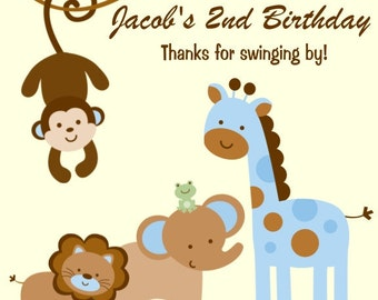 60 Wild Safari Birthday Party Favor Tags