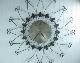 Wrought Iron Starburst Clock, Mid Century Clock, Seth Thomas Clock