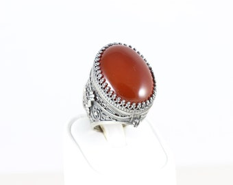 Sterling Silver Large Carnelian and Marcasite Filigree Band Ring Size 6