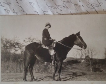Vintage RPPC Girl and her Horse unused