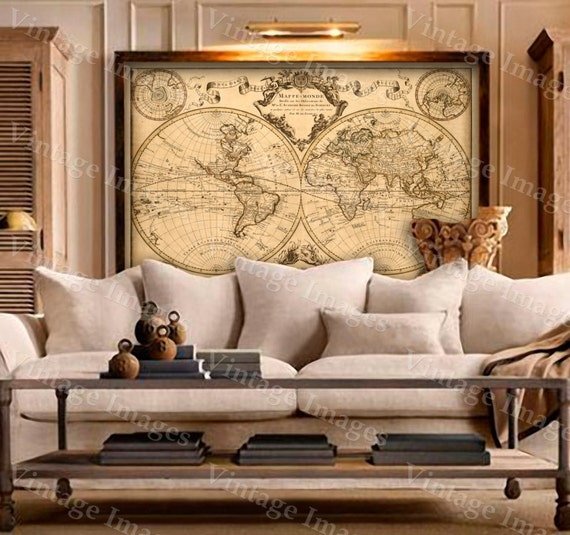 L 39 isle 39 s 1720 old world map historic map by vintageimageryx for Wallpaper home hardware