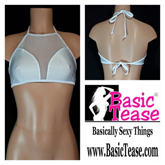 Tie Neck and Back Halter with Mesh Insert and High Neck Tie Halter Top