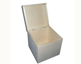 Untreated Cube Square Wooden Jewellery Box Keepsake Chest Pine