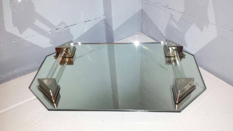 Vanity mirror tray mirrored tray art deco mid century for Mirrored bathroom tray
