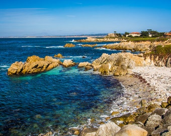View of rocky coastline in Pacific Grove, California - Landscape Photography Fine Art Print or Wrapped Canvas