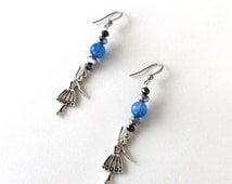 Blue glass bead and crystal ballerina earrings