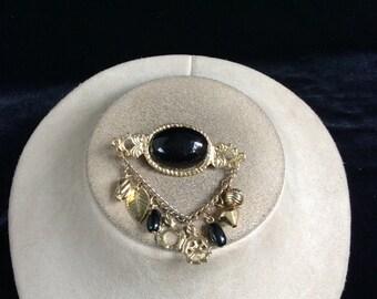 Vintage Black Dangling Charms Pin