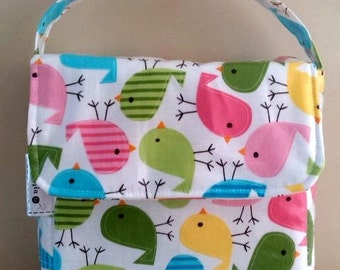 Choose fabric made to order Girl's Insulated Lunch Bag // Wipe clean lunch sack // Baby Bottle Bag // Laminated cotton Food Bag