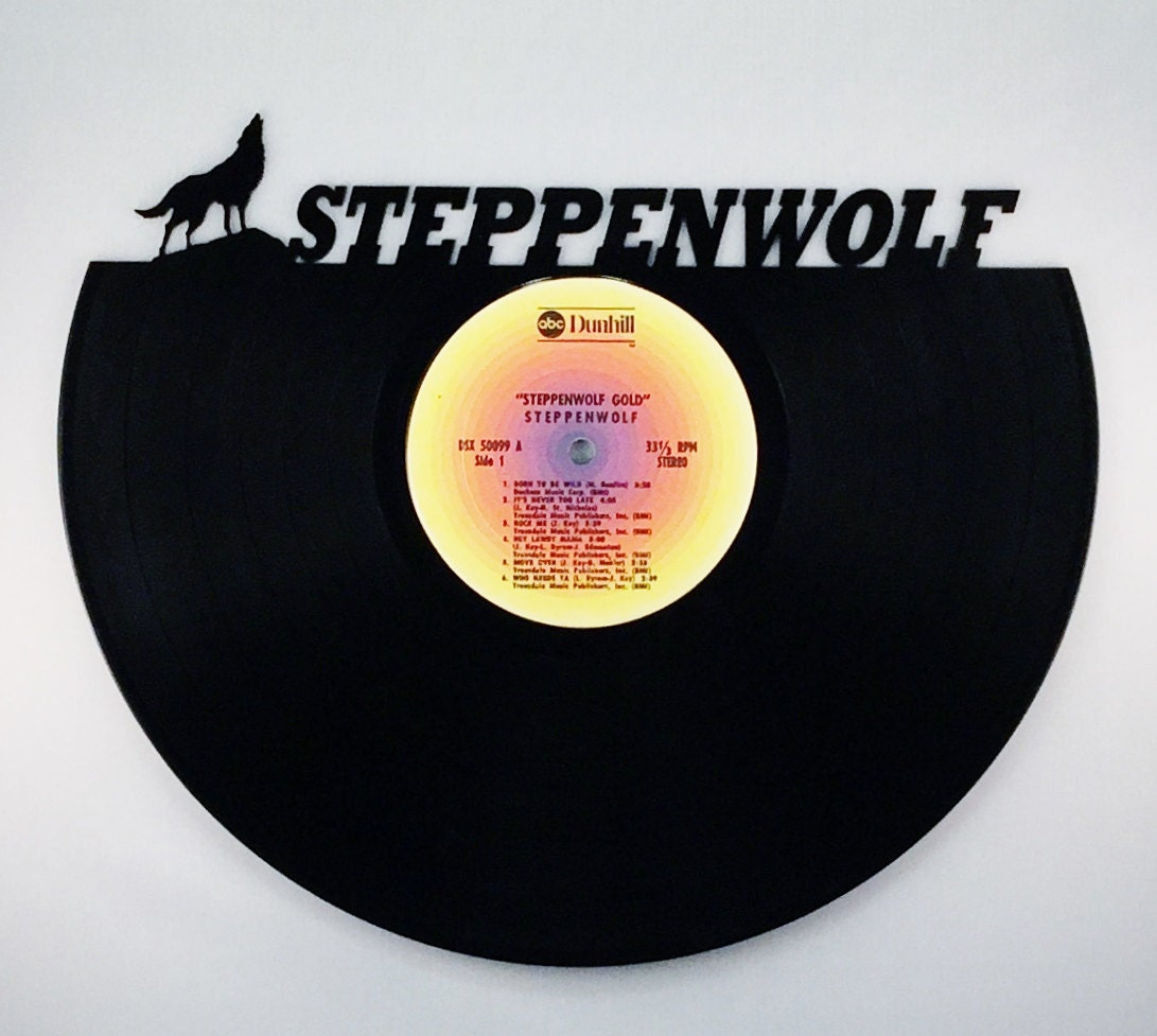 Recycled vinyl record steppenwolf wall art for Vinyl record wall art