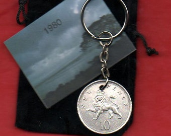 1980 British Old Large Ten Pence Coin Keyring Key Chain Fob Queen Elizabeth II