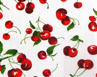 Cherry Fruit White Poly Cotton Fabric By The Full Yard 5525