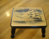 Footstool /  Foot Stool /  Sailboat image ontop of footrest / foot rest