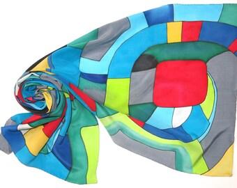 Silver Spiral silk scarf. Hundertwasser scarf Hand painted silk scarf in red green yellow blue painted silk. Hand made scarf silk painting