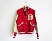 1950's Letterman Jacket // Medium to Large Red Letterman Jacket // Vintage Unisex Clothing