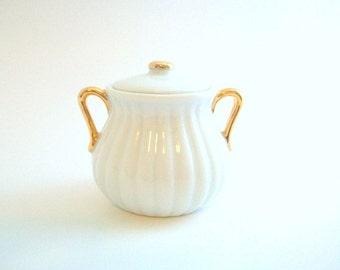 Vintage Sugar Bowl, White Sugar Bowl, Gold Sugar Bowl, White & Gold Sugar Bowl, Sugar Bowl with Lid, Porcelain Sugar Bowl, Double Handle