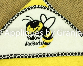 Personalized Appliqued Hooded Baby Bath Towel With GA Tech Inspired Yellow Jacket