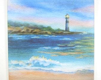 Sunset Lighthouse Art Tile Hangable Wall Art Original Watercolor Sea Art