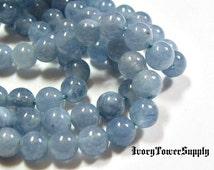 1 Strand 6mm Natural Aquamarine Beads, Blue Beads, Natural Semi Precious Gemstone Beads