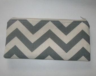 "Long Cosmetic/Clutch/Pencil Zippered Case gray chevron duck fabric- Bridesmaids - 10""x4.5"""