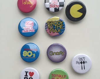 80's Pack of 10 Pinback Buttons each one is 1.25 inches in size