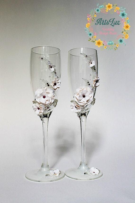 Wedding Champagne Glasses With Swarovski Crystals Wedding