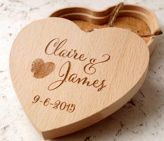 Heart ring bearer box, ring bearer box, personalized, rustic wedding ring bearer box, wooden ring box, custom engraved ring bearer box