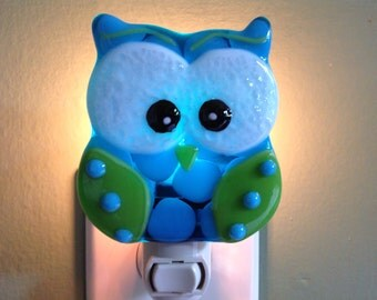 Fused Glass, Be Wise, Turquoise and Green, Owl, Night Light