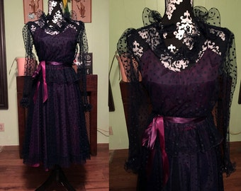 SALE - Vintage 1950s Deep Purple Party Dress