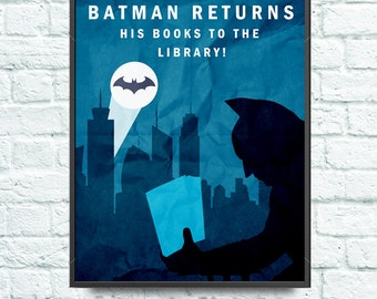 Batman Returns His Books to the Library -  Poster Print - Library Decoration