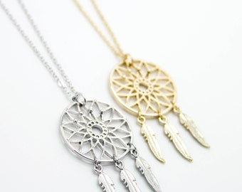 Dreamcatcher gold / silver plated necklace love, cute, adorable