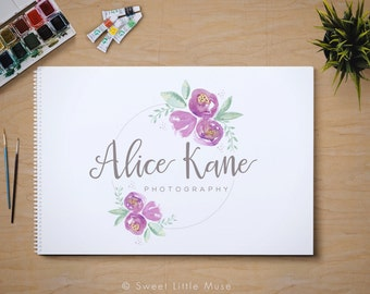 Watercolor photography logo - Photography Logo - Photography branding - logo and watermark - premade logo