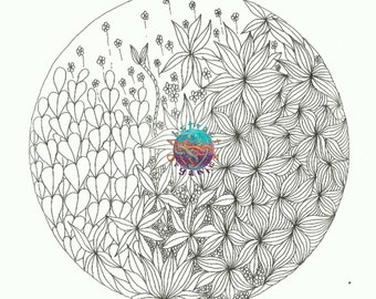 Blooming, Flower adult colouring download, Flora and Fauna, garden colouring sheet, de stress and relaxing, mindful colouring, intricate art