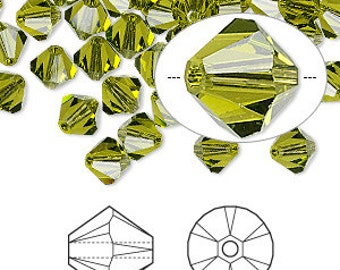 6mm Olivine Swarovski Bicone Crystals - Olivine - Package of 50