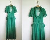 RESERVED.......................................1940s Velvet Dress / 40s Emerald Green Silk Velvet Gown / 1940s Evening Gown