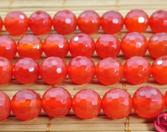 37 pcs of  Carnelian faceted round beads in 10mm