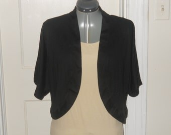 Solid Black Ladies Jersey Knit Shrug Size 16
