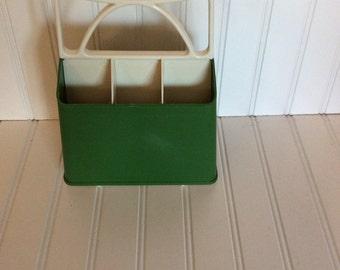 Caddy/ flatware caddy/ storage caddy/ retro caddy/ desk caddy/ retro green caddy/ vintagebrowns