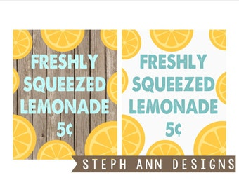 2 Freshly Squeezed Lemonade Printable Signs-Printable 8x10 Decor