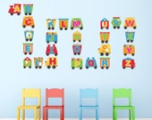 Train Alphabet Letters Wall Stickers, Alphabet Wall Decals, Letter Wall Art, Nursery Wall Transfers - Removable and Repositionable - FA120