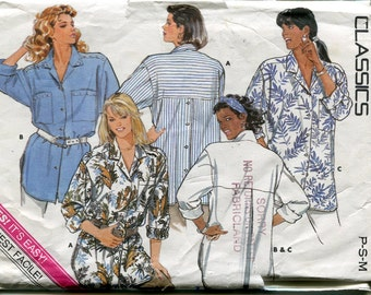 1980s Blouse Pattern Butterick 4851 Button Closure Long Sleeves Vintage Womens Sewing Patterns 6-14 uncut