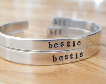Bestie BFF Best Friends Aluminum Cuff Bracelet Set of Two